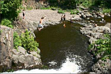 Swimming off Seven Bridges Road.
