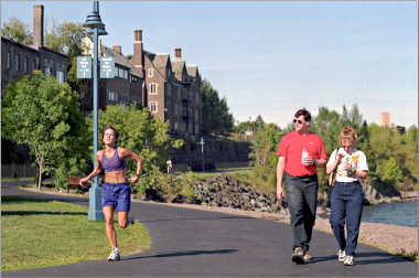 A runner on Duluth's Lakewalk.