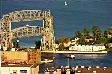 Aerial Lift Bridge as seen from Skyline Parkway in Duluth.