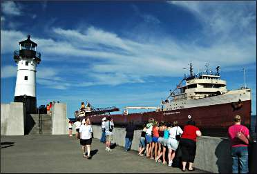An ore boat arrives in Duluth.