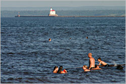 Swimming off Duluth's Park Point.