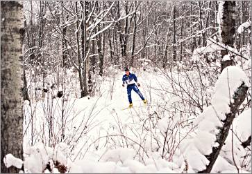 Skier at Duluth's Snowflake Nordic Center.