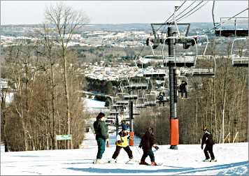 Skiers at Duluth's Spirit Mountain.