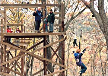 The ropes course at Eagle Bluff near Lanesboro.