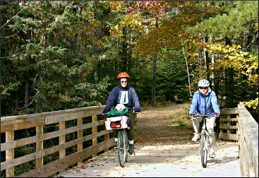 Bicyclists on the Three Eagle Trail.