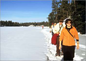 Snowshoers on Hegman Lake.