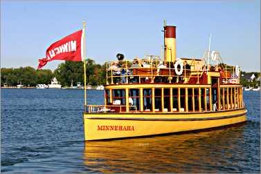The steamboat Minnehaha on Lake Minnetonka.