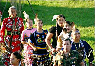 Women dance at the Lac du Flambeau powwow.