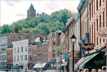 Galena's Main Street is lined by shops.