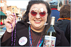 A reveler at Galena wine weekend.