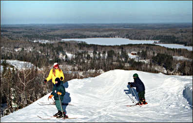 Skiers have a view at Giants Ridge.