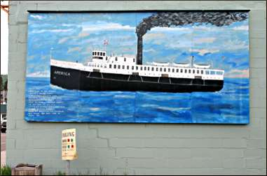 A mural of steamship America.