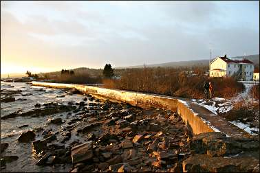Grand Marais breakwall at sunset.
