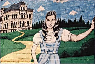 A mural of Judy Garland in Grand Rapids.