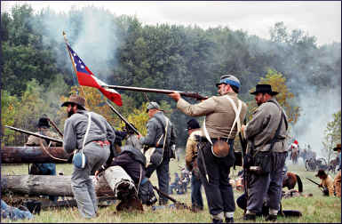 Union soldiers reenact a battle in Greenbush.