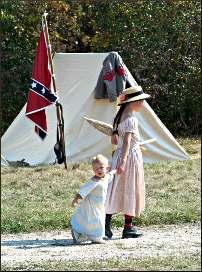 Young Civil War reenactors.
