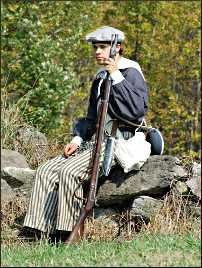 A young Civil War reenactor.
