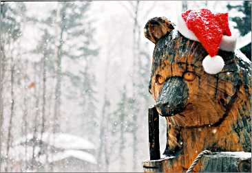 A wood bear at Bearskin Lodge.