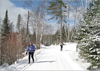 Skiers glide on trails along the Gunflint's Flour Lake.