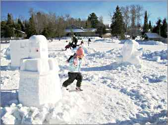 Snow sculptures outside Gunflint Lodge.