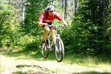 A mountain biker jumps on the trail.
