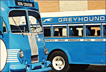Old buses at the Greyhound Bus Museum in Hibbing.