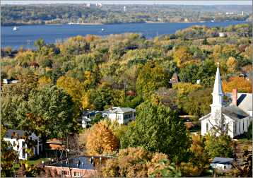 Hilltop view of Hudson.