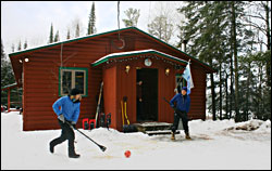 Broomball at the National Forest Lodge.