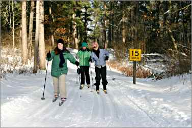 Skiers on the trails in Itasca State Park