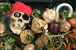 Skull at a farmers market.