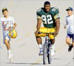 Green Bay Packer on way to practice.