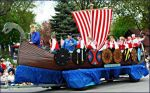 A Viking ship float in Spring Grove.