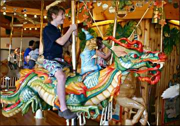 The carousel at LARK Toys in Kellogg.