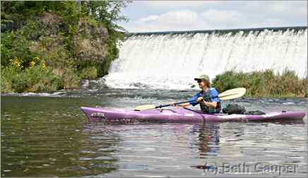 kayaker on Kinnickinnic River in Wisconsin
