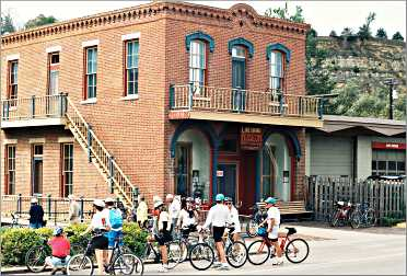 Bicyclists gather in downtown Lanesboro.