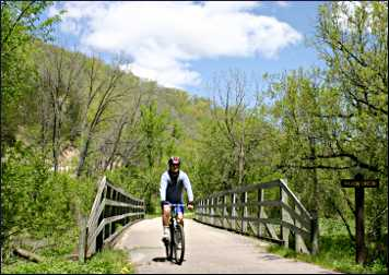 Spring bicycling on the Root River State Trail.