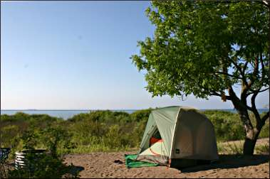A campsite in Leelanau State Park.