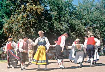 Swedish folk dancers perform during Karl Oskar Days in Linds