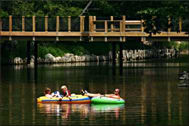 Tubing in Ludington State Park.