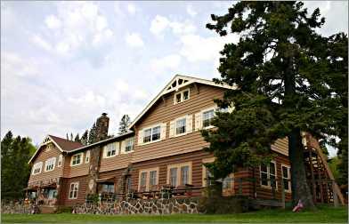 The 1927 Cascade Lodge sits alongside the Cascade River.