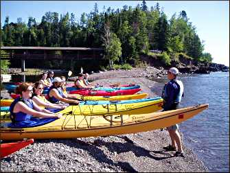 A kayak class at Lutsen Resort.