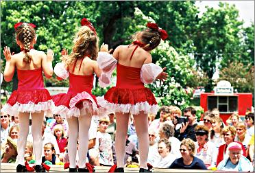 Little girls dance on a stage at Luverne's Buffalo Days.