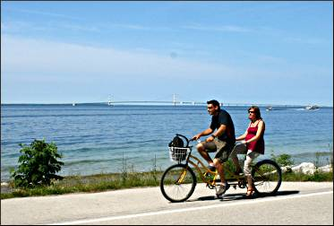 Bicycling around Mackinac Island.