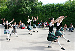Irish dancers in a parade.