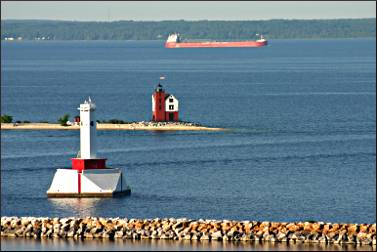 The harbor entrance to Mackinac Island.