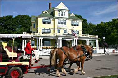 A horse-drawn wagon on Mackinac.