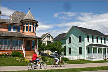 Victorian houses on Mackinac Island.