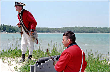 Soldiers at Colonial Michilimackinac.