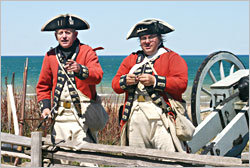 British soldiers at Colonial Michilimackinac.
