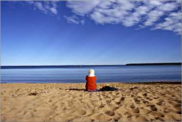 The beach at Big Bay State Park faces Lake Superior.